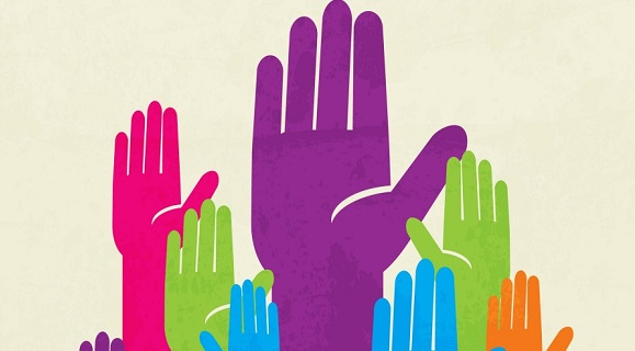 colorful up hand. concept of democracy